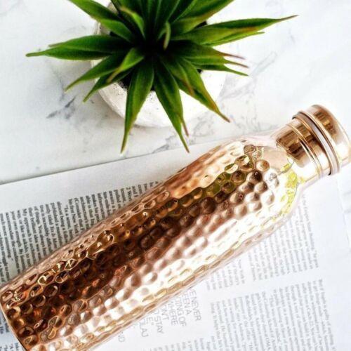 Copper Handmade Water Bottle 100/% Pure Pot Natural Ayurveda Health Benefits