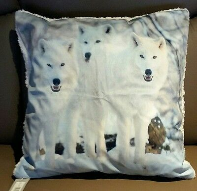 Wolfstrio Wölfe weiß Kissen Kissenhülle 50x50 cm oder   40 x 40 cm