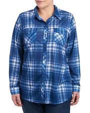Como Vintage Woman's Plus 2X - NWT - Blue Plaid Button-Front Poly Knit Top Shirt