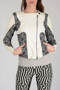 De 1201711005806 Veste Asymétrique Blanc Texturé En Biker New S Taille Drome Tissu Et Woman Cuir 6wqnxS8t8