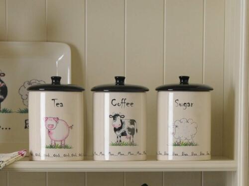 Prix /& Kensington Maison Ferme Thé Café Sucre Stockage Pots-Ferme HF3