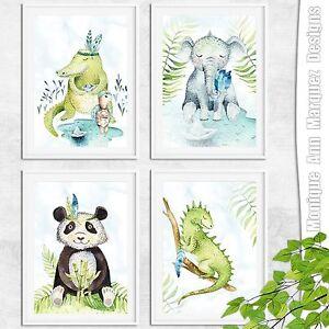 Kinderzimmer-4er-Set-Bild-er-Wild-Boho-Tiere-Kunst-Druck-Babyzimmer-DINA4-Set-4