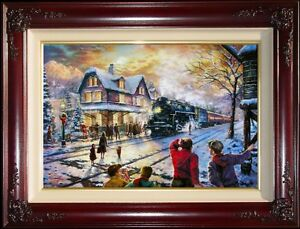Kinkade-All-Aboard-for-Christmas-Lionel-Trains-18X27-G-P-Limited-Edition