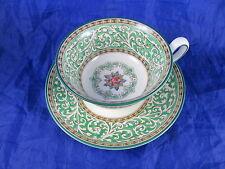 Wedgwood Praze Green Tea Cup & Saucer Set England Enamel Porcelain Bone China