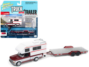 1993-Ford-F-150-Red-with-White-Camper-and-Trailer-1-64-Model-JLSP036A