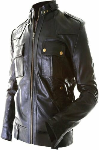 Men/'s Original Leather Slim Fit Jacket With Stand Collar