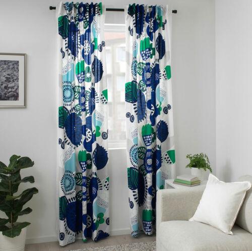 IKEA IRMELIN Gardinenpaar 145x300 Vorhang Vorhänge Schals weiß blau NEU