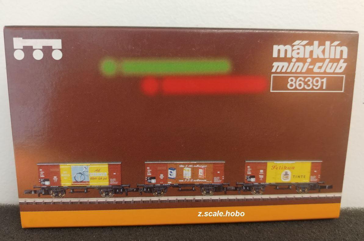 Marklin Z 86391  Economic Miracle  Freight Box Car Set 3 Cars *NEW FREE SHIPPING