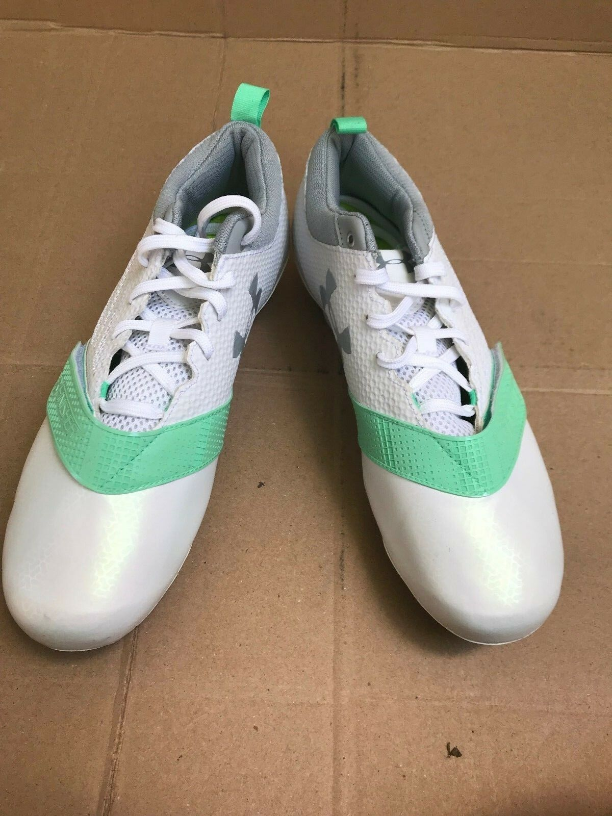 New Under Armour Women's Lax Finisher MC Cleats White / Gray Size 11 1278783-103