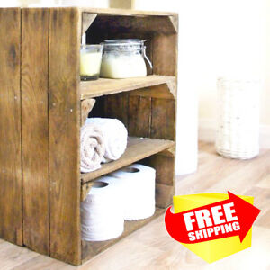 Wooden Bathroom Shelf Unit Rustic Storage Handmade Upcycled Reclaimed Wood Ebay