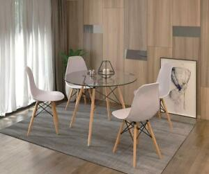 Morden Round Glass Dining Table And 4 Dining Chair Solid Wood For Small Kitchen Ebay