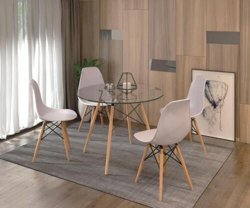 mesa crital con silla nordicas