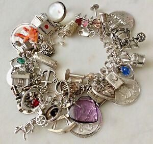 45-Vintage-Sterling-Silver-Charm-Bracelet-Puffy-Hearts-Romance-Wrist-Scrapbook