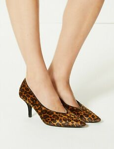 Marks-amp-Spencer-Animal-Stiletto-Heel-High-Cut-Court-Shoes-BNWT-28-50-Size-5-38