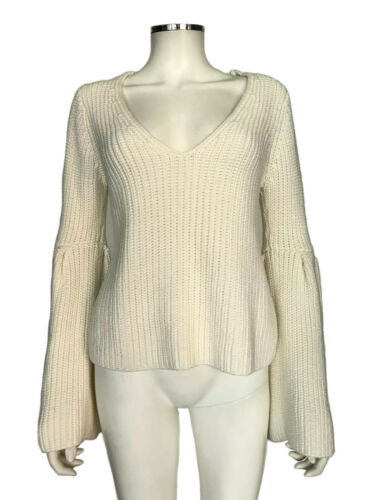 Intermix White Sweater Cable Ribbed Knit Deep V-Ne