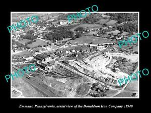 OLD-LARGE-HISTORIC-PHOTO-OF-EMMAUS-PENNSYLVANIA-AERIAL-VIEW-OF-IRON-Co-c1940
