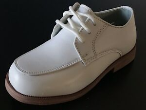 Boys WHITE communion SHOES wedding party shoes LACE UP size (5 YOUTH - 6 YOUTH)