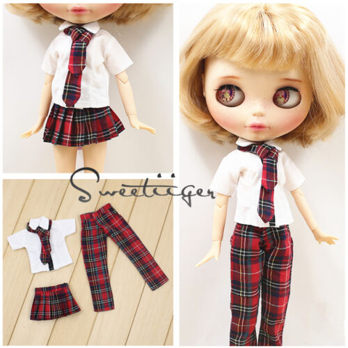 【Tii】student outfit 12 1/6 doll Blythe/Pullip/azone/jerryb Clothes dress girl