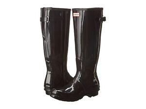 Details about HUNTER ORIGINAL BACK ADJUSTABLE BLACK GLOSS RAIN BOOTS WOMEN WFT1001RGL *NIB*