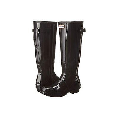 HUNTER ORIGINAL BACK ADJUSTABLE BLACK GLOSS RAIN BOOTS WOMEN WFT1001RGL *NIB*
