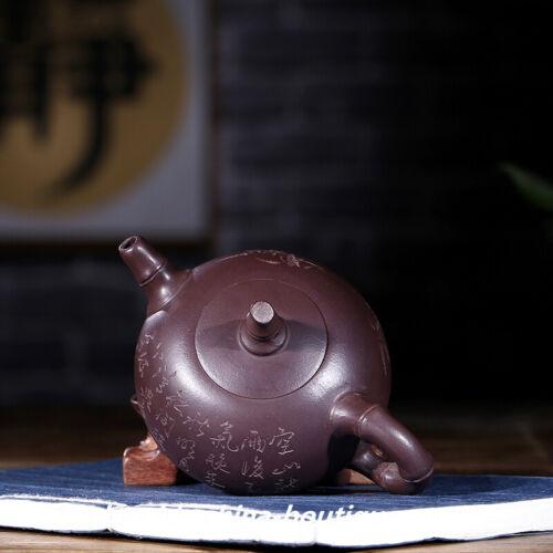 China Yixing Zisha Pottery 140cc Purple Clay Teapot Handmade Tripodia Bamboo Pot