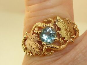 ORNATE-10K-BLACK-HILLS-TRI-COLOR-GOLD-APPROX-1-2-CTW-BLUE-TOPAZ-RING-SZ-6
