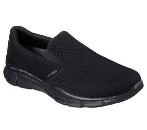 Black-Skechers-shoes-Men-039-s-Memory-Foam-Comfort-Slip-On-51546-Casual-Mesh-Walking