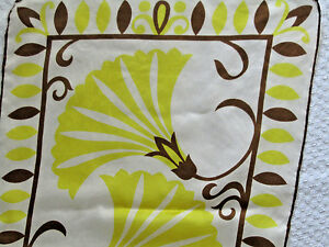 Details about 1960's VTG SALLY GEE Mod Floral Vine Silk Scarf Yellow Brown  15 X 43