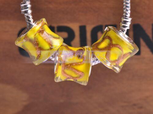 New 10pcs Murano Lampwork Glass Loose Big Hole Beads Fit European Charm Bracelet