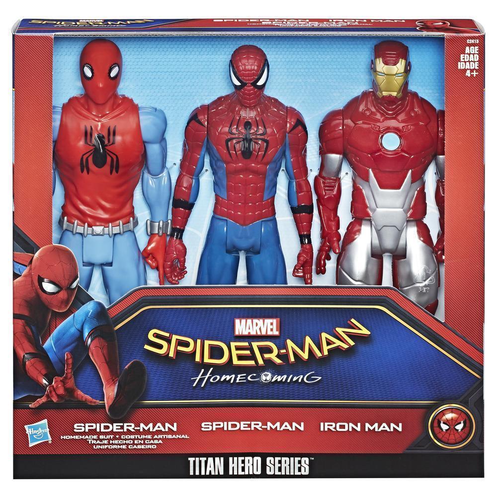 MARVEL Spider-Man RITORNO A CASA 3 confezione con IRON MAN PERSONAGGIO SERIE TITAN HERO Regalo