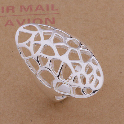 925 Silver Plated Big Hollow Web Ring / Thumb Ring Women  Fashion Jewelry