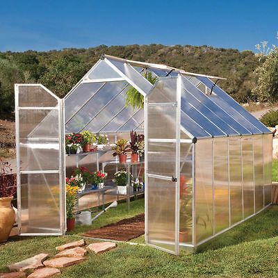 Palram Greenhouse Huge 8ft x 12ft Silver Double Glazed Greenhouse Free Delivery