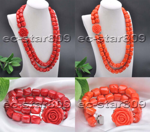 """D0266 Set 2Row 21/""""-22/"""" 14mm Pink /& Red Cylinder Coral Necklace Bracelet"""