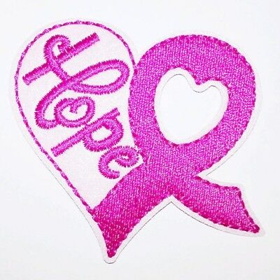 Breast Cancer Support Ribbon Embroidered Patch Iron-On Sew-On Applique