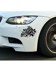 2 pc black flower Sticker Car Bumper Van Window Laptop JDW VINYL Decals Stickers