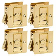 Kwikset Notch Hall 1.375 Inch Sliding Door Pocket Lock, Polished Brass (4 Pack)