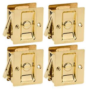 Kwikset-Notch-Hall-1-375-Inch-Sliding-Door-Pocket-Lock-Polished-Brass-4-Pack