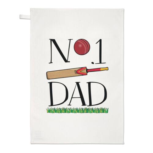 No.1 Dad Cricket Tea Towel Dish Cloth Funny Father/'s Day Present Sport