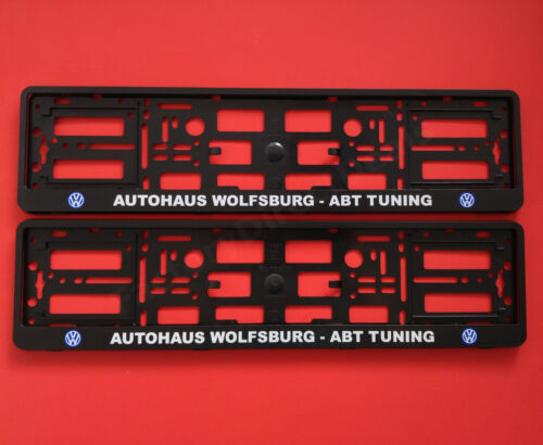 2x VW AUTOHAUS WOLFSBURG ABT TUNING Number Plate Surrounds Car Holders Frame