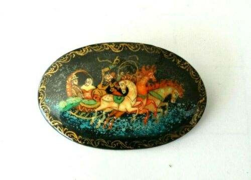 Vintage Russian Lacquer signed Sleigh Horse brooch