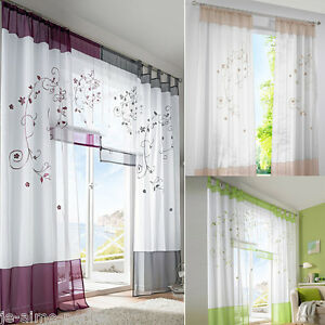 Rideau panneau voilage ruban porte fen tre curtain brod maison d coration 2016 ebay for Voilage porte fenetre