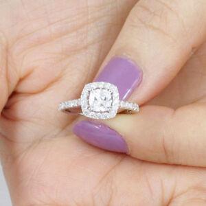 Solitaire 1 5 Carat Cushion Cut Halo Diamond Engagement Ring 14k