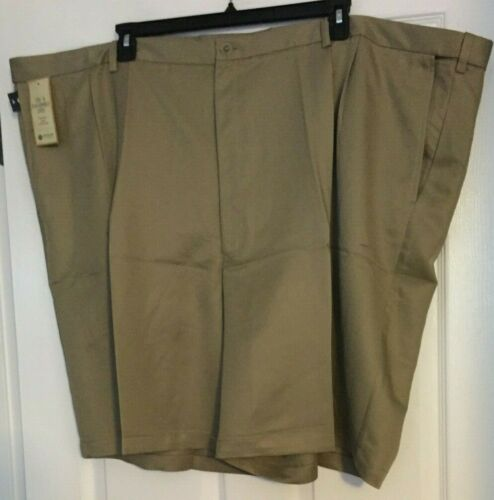 Haggar Big /& Tall British Khaki Garbadine Cool 18 Pleated Front Shorts Sz 58 NWT