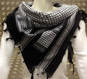 100% Cotton Shemag/arabischer Schal/pashmina/gewickelt/sarong. Weiß Auf Schwarz