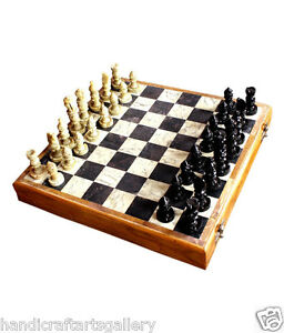 """8"""" Marble Board Stone Wooden Coffee Chess Pieces Handmade Table Decorative H659C"""