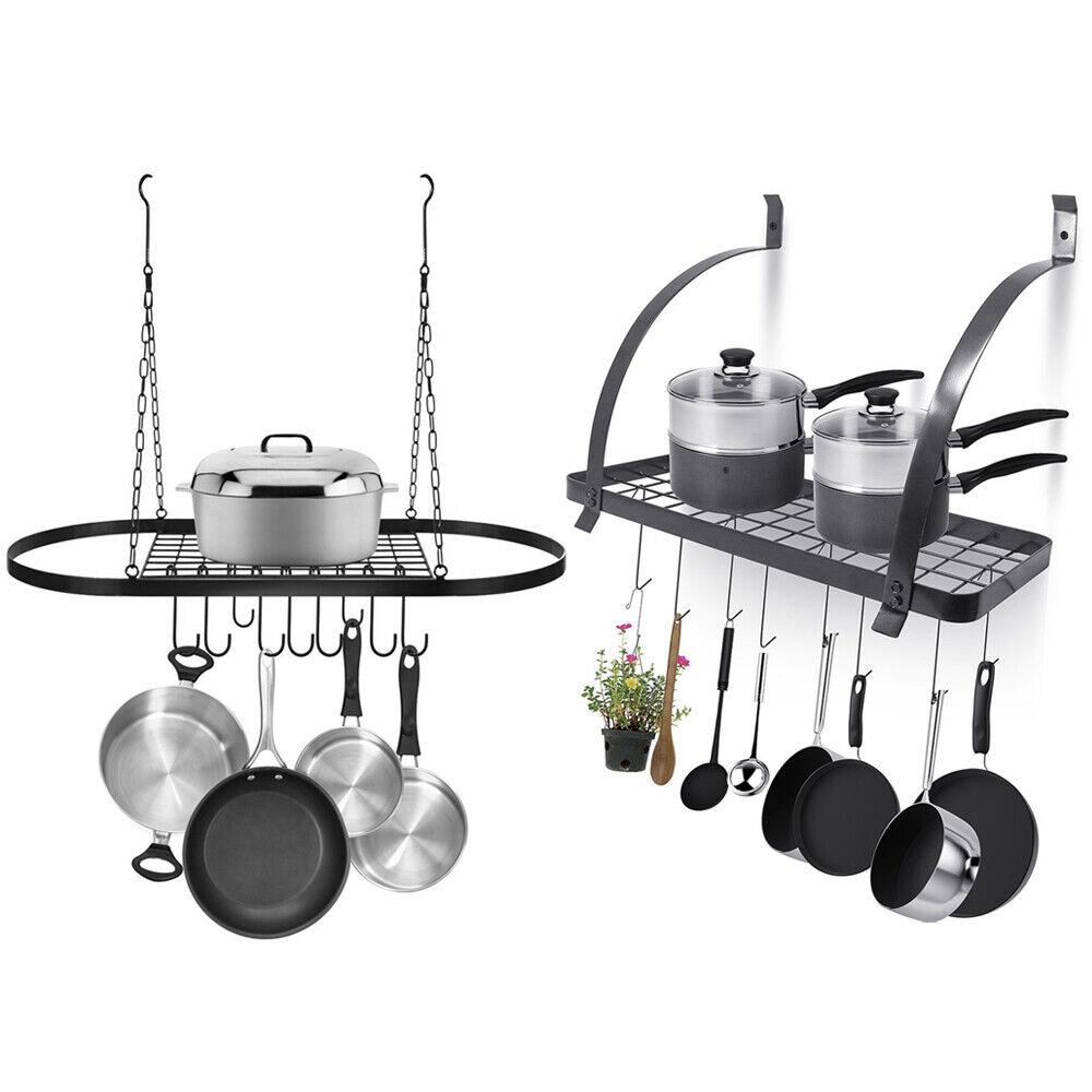 1pc Wall Mount Grid Pot Pan Rack Hanging Storage Cooking Organizer Hanger Shelf For Sale Online Ebay