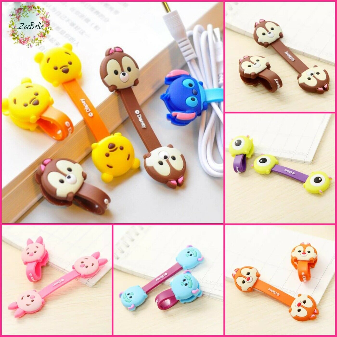 Cord Keeper Headphone Wire Cable Holder Tidy Organiser Wrap - Cartoon Characters