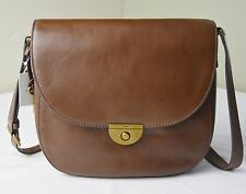 Fossil Emi Large Brown Leather Saddle Crossbody Messenger Bag