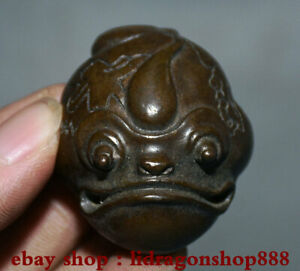 1-8-034-Chinois-Rouge-Bronze-Feng-Shui-Animal-Crapaud-Dore-Spittor-Richesse-Statue