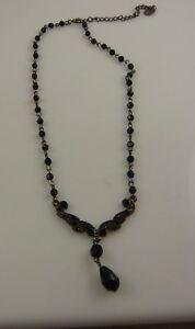 black-elegant-teardrop-Crystal-necklace-silver-tone-black-crystals-Christmas